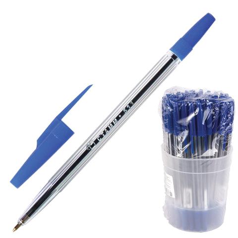 Ручка шариковая СТАММ «511», корпус прозрачный, толщина письма 1 мм, синяя