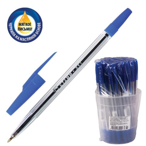 Ручка шариковая масляная СТАММ «511», корпус прозрачный, толщина письма 0,7 мм, синяя