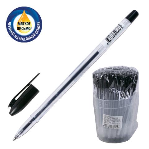 """Ручка шариковая масляная СТАММ """"VeGa"""", корпус прозрачный, толщина письма 0,7 мм, черная"""