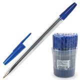 Ручка шариковая СТАММ «Оптима», корпус прозрачный, толщина письма 1 мм, синяя