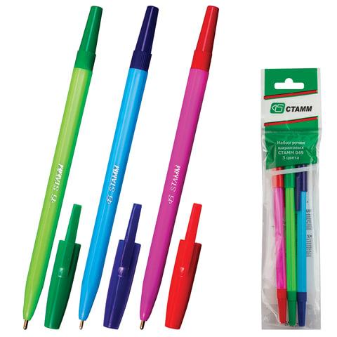 """Ручки шариковые СТАММ """"049"""", набор 3 шт., толщина письма 1 мм, европодвес (синяя, красная, зеленая)"""