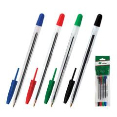 Ручки шариковые СТАММ «111», набор 4 шт., «111», корпус прозрачный, узел 1,2 мм, линия 1 мм (синяя, черная, красная, зеленая)