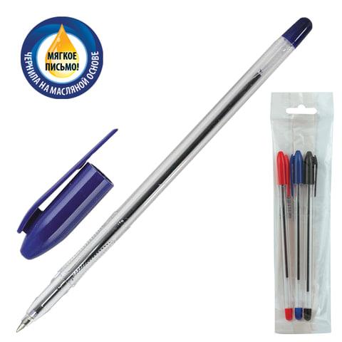 """Ручки шариковые масляные СТАММ """"VeGa"""", набор 3 шт., """"Vega"""", корпус прозрачный, узел 1,2 мм, линия 0,7 мм (синяя, черная, красная)"""