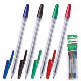 Ручки шариковые СТАММ «Оптима», набор 4 шт., толщина письма 1 мм, европодвес (синяя, черная, красная, зеленая)