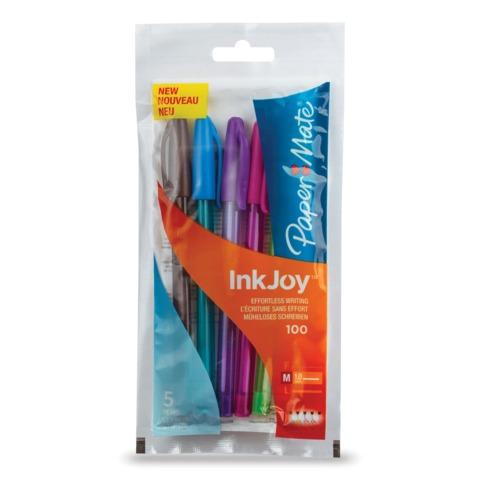 Ручки шариковые PAPER MATE, набор 5 шт., «InkJoy 100 Cap», голубая, зеленая, розовая, коричневая, фиолетовая, 0,8 мм