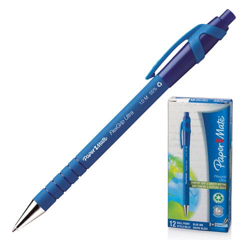 """Ручка шариковая PAPER MATE автоматическая """"Flexgrip Ultra RT"""", корпус синий, 1 мм, синяя"""