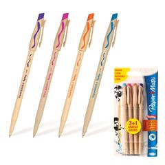 Ручки «Пиши-стирай» шариковые PAPER MATE, набор 4 шт., узел 1,2 мм, линия 1мм (фиолетовая, оранжевая, бирюзовая, розовая)