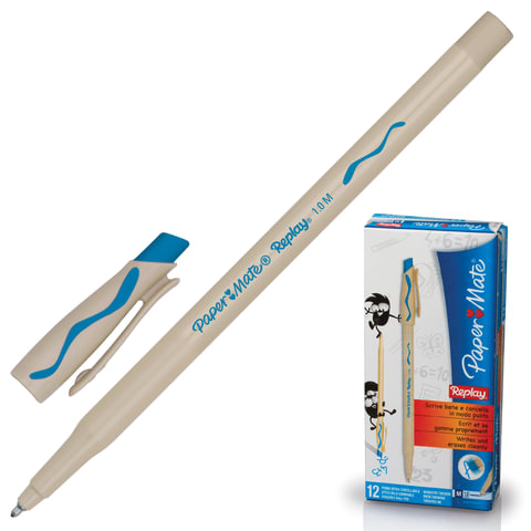 Ручка «Пиши-стирай» шариковая PAPER MATE «Replay», корпус бежевый, 1 мм, бирюзовая
