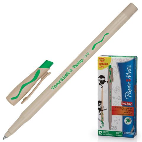 "Ручка ""Пиши-стирай"" шариковая PAPER MATE ""Replay"", корпус бежевый, узел 1,2 мм, линия 1 мм, зеленая"