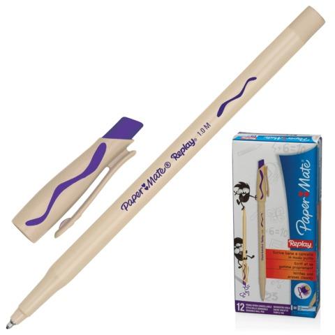 """Ручка """"Пиши-стирай"""" шариковая PAPER MATE """"Replay"""", корпус бежевый, 1 мм, фиолетовая"""