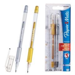 Ручки гелевые PAPER MATE, набор 2 шт., «PM 300», узел 1,3 мм, линия 1 мм (золотая, серебряная)
