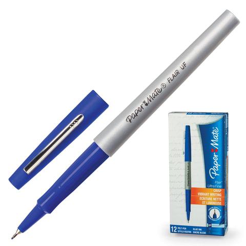 "Ручка капиллярная PAPER MATE ""Flair UF"", корпус серый, толщина письма 0,5 мм, синяя"