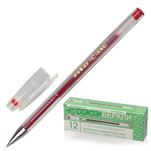 Ручка гелевая СОЮЗ «Oskar», корпус прозрачный, толщина письма 0,7 мм, красная