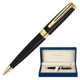 Ручка шариковая WATERMAN «Exception GT Slim», корпус черный, нержавеющая сталь, позолоченные детали, S0636960, синяя