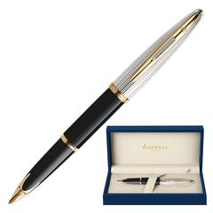 Ручка перьевая WATERMAN «Carene Deluxe GT», корпус черный, нержавеющая сталь, позолоченные детали, синяя, S0699920