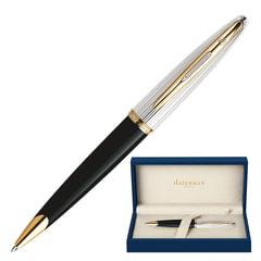 Ручка шариковая WATERMAN «Carene Deluxe GT», корпус черный, нержавеющая сталь, позолоченные детали, синяя, S0700000