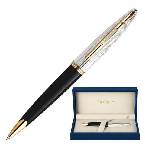 Ручка шариковая WATERMAN «Carene Deluxe Black GT», нержавеющая сталь, позолоченные детати, серебряное покрытие, синяя