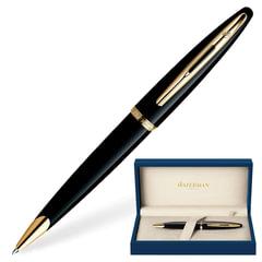 Ручка шариковая WATERMAN «Carene GT», корпус черный, нержавеющая сталь, позолоченные детали, синяя, S0700380