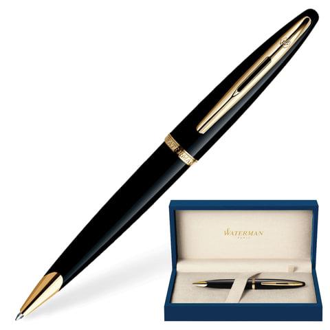 Ручка шариковая WATERMAN «Carene Black Sea GT», корпус нержавеющая сталь, позолоченные детали, синяя