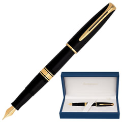 Ручка перьевая WATERMAN «Charleston GT», корпус черный, акриловая смола, позолоченные детали, синяя, S0700980