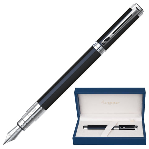 Ручка перьевая WATERMAN «Perspective Black CT», корпус латунь, никель-палладиевое покрытие, синяя