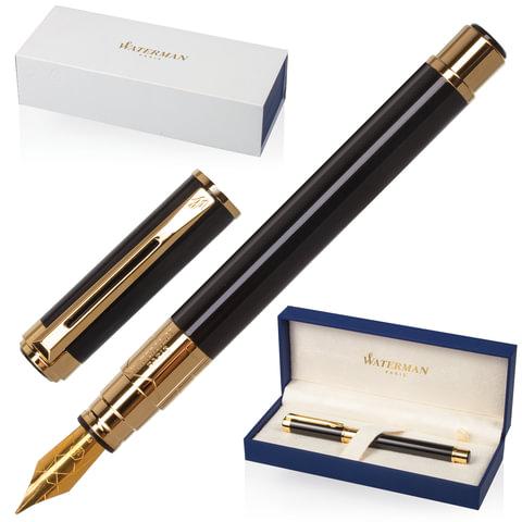 Ручка перьевая WATERMAN «Perspective Black GT», корпус латунь, позолоченные детали, синяя