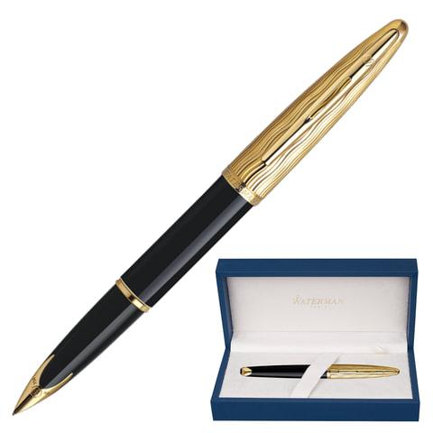 Ручка перьевая WATERMAN «Carene Essential Black GT», корпус латунь, позолоченные детали, синяя
