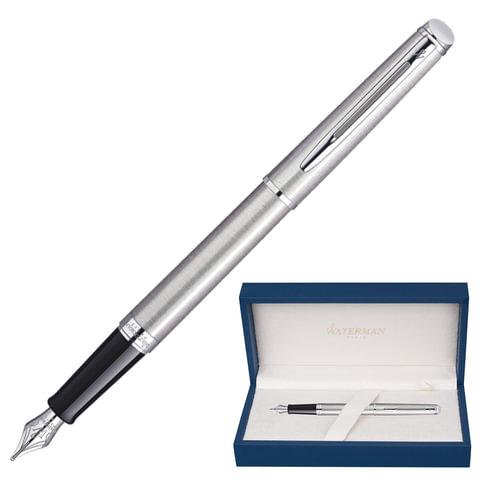 """Ручка перьевая WATERMAN """"Hemisphere Steel CT"""", корпус серебристый, нержавеющая сталь, хромированные детали, S0920410, синяя"""