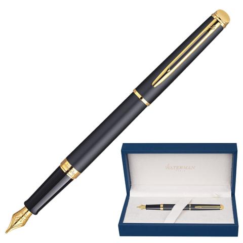 """Ручка перьевая WATERMAN """"Hemisphere Matte GT"""", корпус черный, матовый лак, нержавеющая сталь, позолоченные детали, синяя, S0920710"""