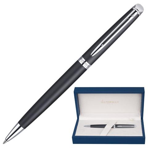 Ручка шариковая WATERMAN «Hemisphere Matt Black CT», корпус нержавеющая сталь, хромовое покрытие, синяя