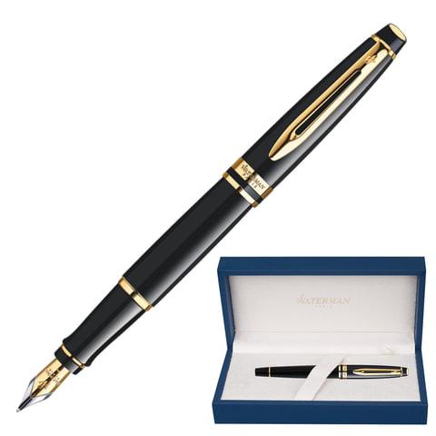 """Ручка перьевая WATERMAN """"Expert GT"""", корпус черный, нержавеющая сталь, позолоченные детали, синяя, S0951640"""
