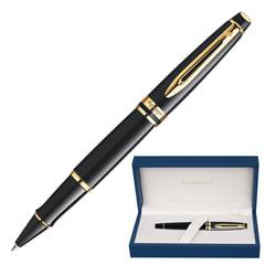 Ручка-роллер WATERMAN Expert GT, корпус черный, нержавеющая сталь, позолоченные детали, черная, S0951680