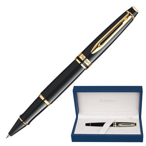 Ручка-роллер WATERMAN «Expert Black GT», корпус нержавеющая сталь, позолоченные детали, черная