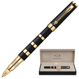 Ручка PARKER «5-й пишущий узел» «Ingenuity Black Rubber & Metal GT», корпус латунь, позолоченные детали, черная