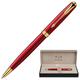 Ручка шариковая PARKER «Sonnet Red Lacquer GT», корпус красный, латунь, лак, позолоченные детали, черная