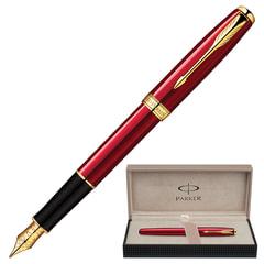 Ручка перьевая PARKER «Sonnet Lacquer GT», корпус красный лак, латунь, позолоченные детали, черная, 1859476