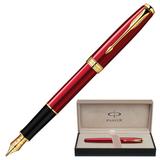 Ручка перьевая PARKER «Sonnet Red Lacquer GT», корпус красный, латунь, лак, позолозенные детали, черная