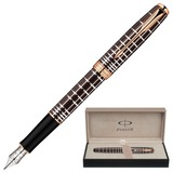 Ручка перьевая PARKER «Sonnet Lacquer PGT», корпус коричневый лак, нержавеющая сталь, позолоченные детали, черная, 1859480
