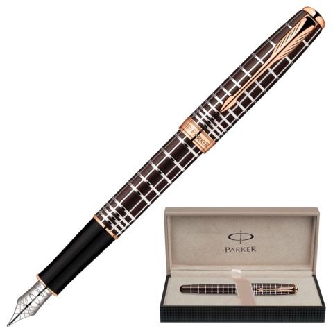 """Ручка перьевая PARKER """"Sonnet Lacquer PGT"""", корпус коричневый лак, нержавеющая сталь, позолоченные детали, черная, 1859480"""