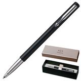 Ручка-роллер PARKER «Vector Standart Black CT», корпус нержавеющая сталь, пластик, синяя