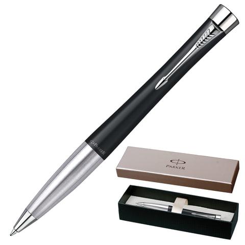 Ручка шариковая PARKER «Urban Muted Black CT», корпус черный, латунь, хромированные детали, S0767030, синяя