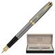 Ручка перьевая PARKER «Sonnet Chiselled Silver GT», корпус серебро, латунь, позолоченные детали, черная