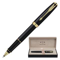 Ручка-роллер PARKER «Sonnet Lacquer GT», корпус черный лак, латунь, позолоченные детали, синяя, S0808720
