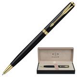 Ручка шариковая PARKER «Sonnet Black Lacquer GT Slim», корпус черный, латунь, позолоченные детали, черная