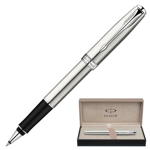 Ручка-роллер PARKER «Sonnet Steel CT», корпус серый, нержавеющая сталь, хромированные детали, S0809230, черная