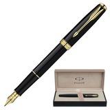 Ручка перьевая PARKER «Sonnet Lacquer GT», корпус черный лак, латунь, позолоченные детали, S0833860, черная