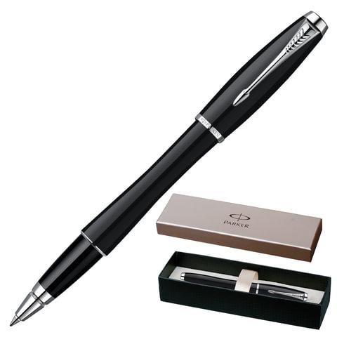 """Ручка-роллер PARKER """"Urban London Cab Black CT"""", корпус черный, латунь, хромированные детали, S0850490, синяя"""