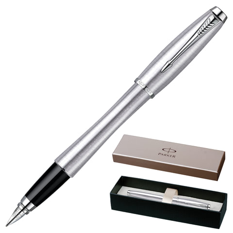 Ручка перьевая PARKER «Urban Metro Metallic CT», корпус нержавеющая сталь, хромированные детали, черная
