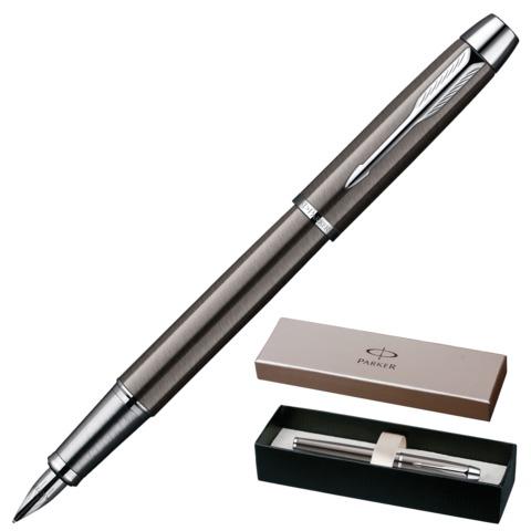 Ручка перьевая PARKER «IM Gun Metal CT», корпус стальной темно-серый, латунь, лак, хромированные детали, черная