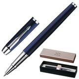Ручка-роллер PARKER «IM Blue Lacquer CT», корпус синий лак, латунь, хромированные детали, S0856380, черная